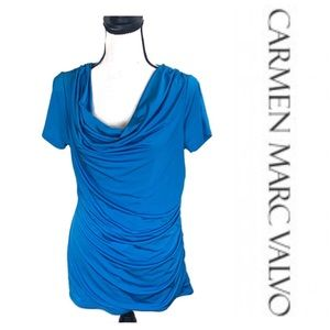 Carmen Marc Valvo Blue Short sleeve cowl neck top